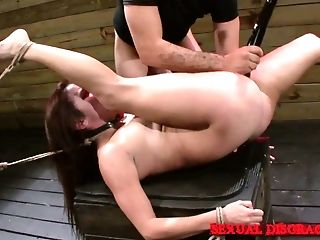 Obedient Ball-gagged Whore Stella May Is Fucked Missionary During Restrain Bondage Session