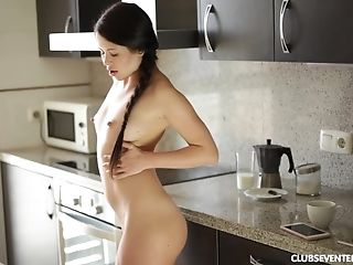 Super-cute Bombshell Strips And Unveils Her Hot Bod In The Kitchen