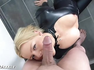 Bibi In Sexy Costume Play Catsuit Deepthroats Wiry Dick