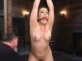 Non-traditional Pervert Fucks Tied Up Carmen Valentina With A Lengthy Stick In The Basement