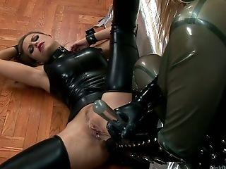 Bitchy Mistress Sin Sexy Spandex Undergarments Wivian Fucks Subordinated Chick