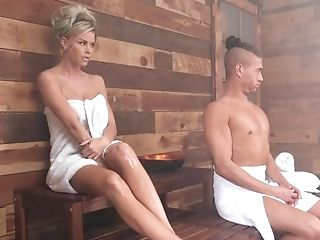 Blonde Mummy Gets Rectal Fucked In The Sauna
