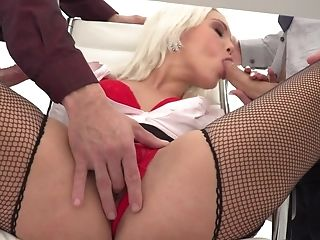 Blonde Assistant Likes Two Studs Fucking Her Hard