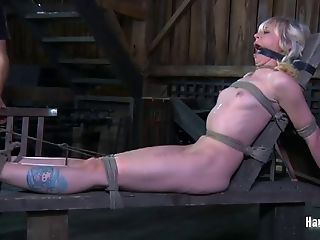 Bondage & Discipline Torment Session In A Dungeon Space With Blonde Sarah Jane Ceylon