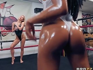 Oiled Up Sapphic Grappling Match With Carter Cruise And Kira Noir