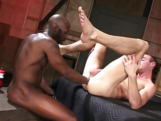 Decadent Queer Dude Gets His Cock-squeezing Butt Fisted By A Black Man