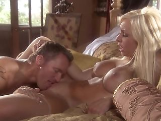 Voluptuous Blonde Jessica Lynn Ridding Strong Friend's Penis On The Couch