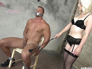 Tied Up Muscular Dude Gets His Dick Tantalized By Blonde Lovita Fate