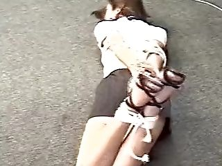 Asian Assistant Hog-tied And Ball-gagged With A Scarf