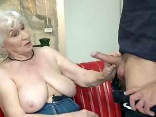 Youthful Friend Pleases On Couch Good-looking Euro Granny