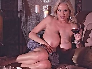 Kelly Madison Loves A Electro-hitachi And A Glass Of Wine