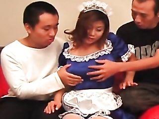 Blue Satin Maid Clothing On Super-cute Japanese Damsel