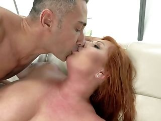 Matures Red-haired With Tattoos On Shoulders Lets Man Fuck Her Arse