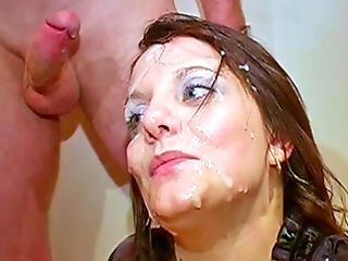 Repeated Jizz Flows Over A Brit Cougars Face And Eyes