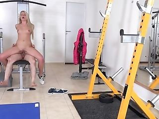 Old Man Penetrates Slender Blonde Martina D In Empty Gym