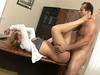 Lusty Nerdy Assistant Brooklyn Lee Rails Her Manager On The Table