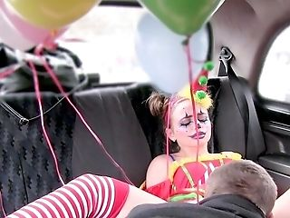 Random Cab Driver Gets Fucking With A Pervy Clown Gal