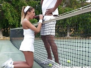 Concupiscent Tennis Stunner August Ames Gets Intimate With One Black Dude
