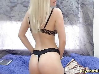 Amazing Unshod Blonde As She Strips Off Her Sexy Threads