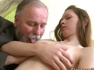 Bearded Old Geezer Smooches Her Youthful Boobies