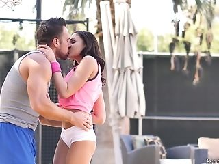 Dark-haired Ariana Marie Lets A Friend Fuck Her On The Tennis Court