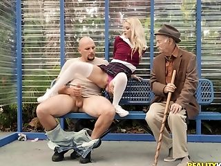 Petite Blonde Tramp Riley Starlet Gargles And Rails A Big Dick In Public