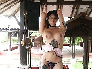 Long Legged Tattooed Tranny Selena Ink Is So Into Wanking Her Own Dick