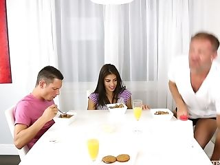 Jizz Thirsty Latina Honey Michelle Martinez Gets Fucked By Two Boys
