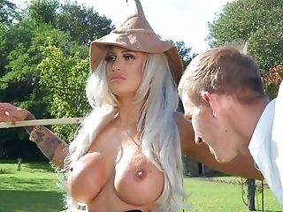 Well-draped Stud Impales Blonde Scarecrow With Round Mammories