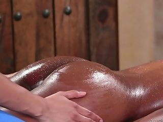 Stunner With Sexy Black Assets Kira Noir Gives A Rubdown Before A G/g Fucky-fucky