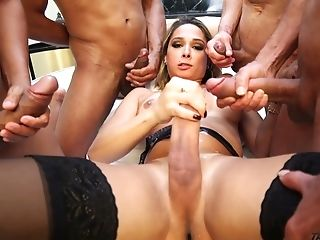 Four Crazy Studs Fuck Killing Hot Shemale Bianca Hills And Jizz On Her Dick