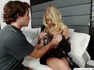 Mega Huge-boobed Mummy Katie Morgan Fucks Horny Neighbor In Her Sofa