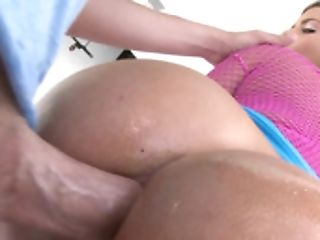 Adorable Blonde Is Pressed Against The Desk Where She Receives Love