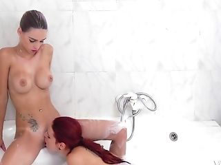 Tattooed Sandy-haired Girl-on-girl Erica Fontes Fucks Susana Melo With A Belt Dick
