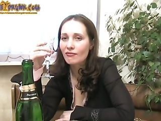 Matures Dark Haired Drinks Alone And Packs Cootchie With Bottle