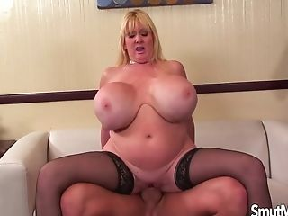 Giant Boobed Matures Woman Fucks And Slurps Jizz