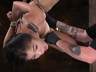 Kendra Spade Hanged Upside Down And Has Her Tits Clipped And Manhandled