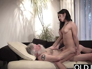 Grandfather Deep Throats Youthful Nymphs Tits Then Gets A Fellatio