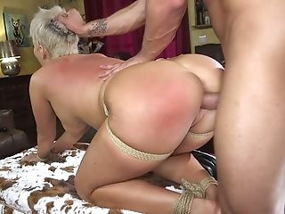 Leaned Over Huge-boobed Cougar Ryan Keely Gets Feet And Arse Spanked Before Hard Rear End