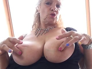 Beate A. Licks Her Humungous Tits And Pounds Herself With A Fuck Stick