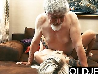 Tattooed Hooker Fucked By Old Man She Drinks His Jism