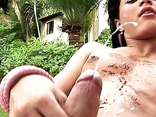 Feminine Tgirl With Cock-squeezing Culo Gropes Herself With Chocolate