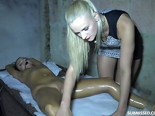 Daphne Klyde Oils Up And Ties Up Katy Sky Before Manhandling Her