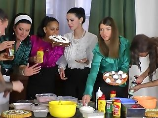 Girl-on-girl Food Group Fucking In Messy Clothes