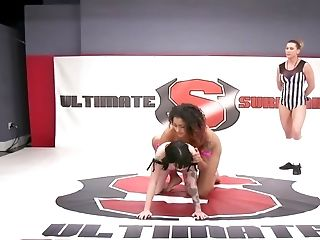Hot, Fit Stunners In A Girl/girl Grappling Match