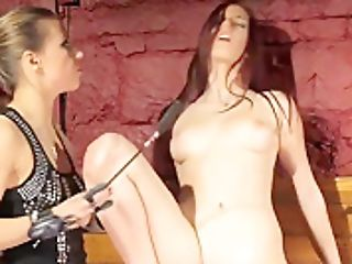 Lesbian Domination Mistress Dildoing Red-haired Sub Stunner