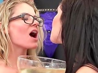 Hot Damsels Have Fun With A Enormous Glass Of Piss And Fuck Fucktoys