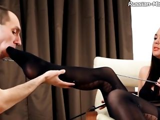 Foot Worship Maiden In Stockings Spanking Her Servant Lovely In Domination & Submission Porno