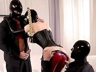 Dirty Spandex Threesome With The Domineering Woman And Her Masculine Slaved