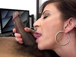 Sara Jay Is Pulling On A Very Large Black Weenie In The Office